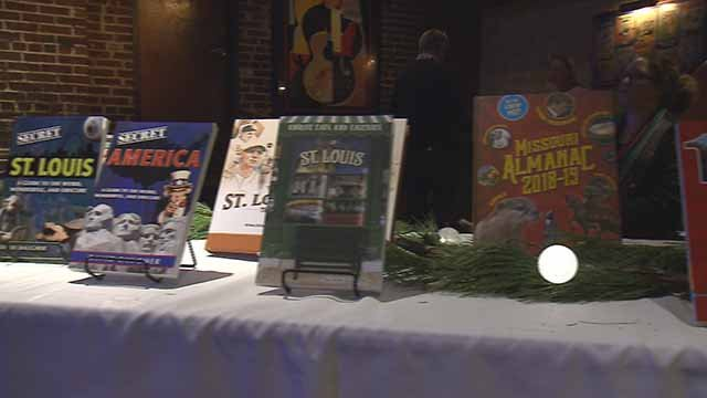 Books published by Reedy Press at a fundraiser for the company in University City. Credit: KMOV
