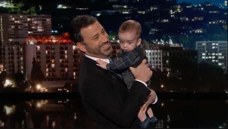Jimmy Kimmel holding his son during a taping of his show (ABC)