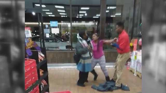This scuffle was caught on camera at the Schnucks on Lindell. Credit: KMOV