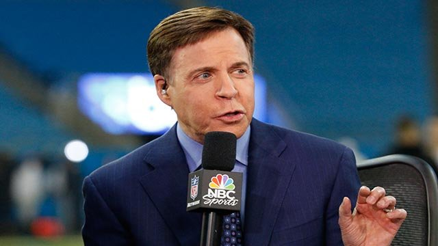 Announcer Bob Costas talks on the set before an NFL football game between the Carolina Panthers and the New Orleans Saints in Charlotte, N.C., Thursday, Nov. 17, 2016. (AP Photo/Bob Leverone)