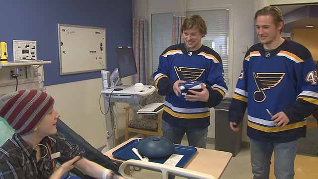 The Blues spent their off day Wednesday with patients at local hospitals. Credit :KMOV