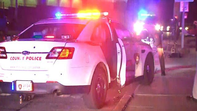 A St. Louis County Police car crashed at West Florissant and Jennings Station Road Thursday (Credit: KMOV)