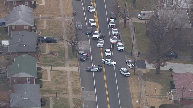 Multiple police vehicles in the are of Bellefontaine Road and Chambers Thursday (Credit: KMOV)