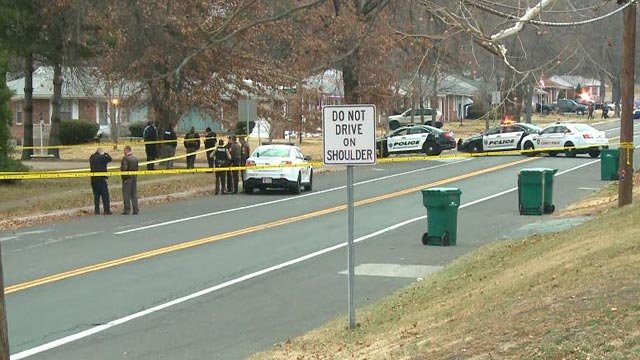 Police officers in the area of Bellefontaine Road and Chambers (Credit: KMOV)