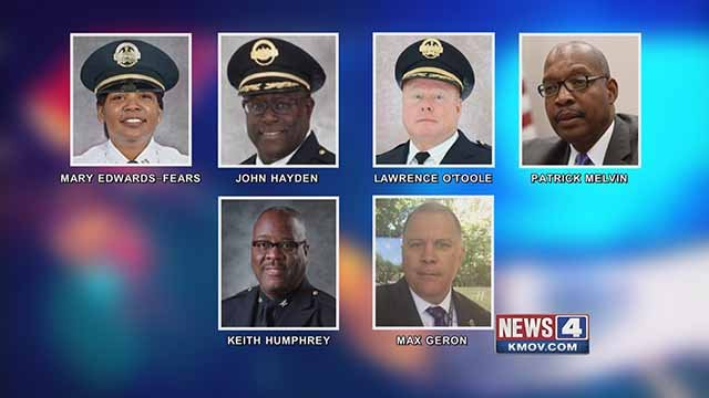 The six finalists for St. Louis Metropolitan Police Chief. Credit: KMOV