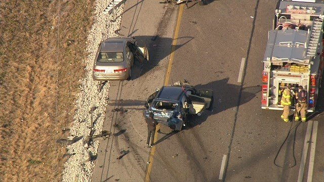 Multi-car crash on I-55 near Highway 143 in Edwardsville. (Credit: KMOV)