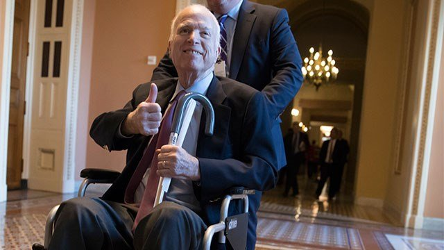 McCain was admitted to the hospital this week due to side effects from his cancer treatment. (Credit: AP)