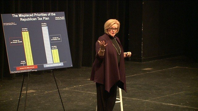 Senator McCaskill hosted her 50th town hall of 2017 . (Credit: KMOV)