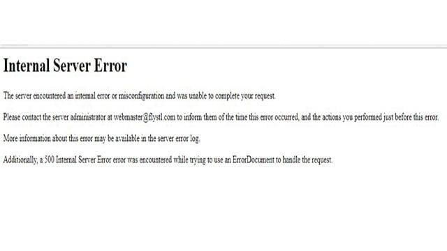Error warning on Flystl.com Monday morning (Credit: Flystl.com)