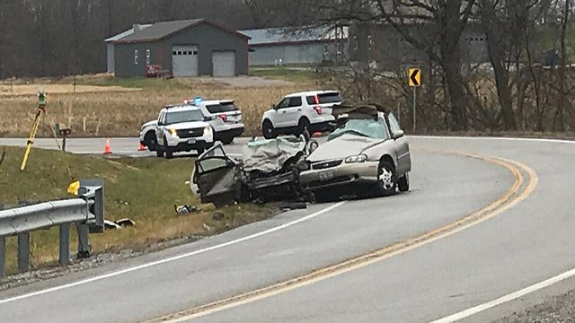A two-car crash occurred on Route 161 near Shoal Creek Road in Clinton County Monday (Credit: KMOV)