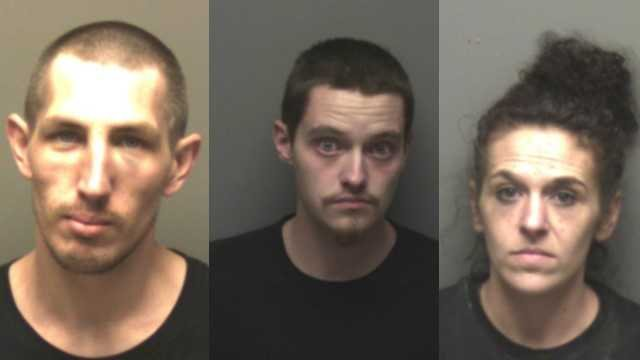 Eric Pietz, Kirk Mills and Cheyenne Fullbright are accused  of stealing a car in Jefferson County and driving  into Franklin County. Fullbright and Pietz are accused of possessing meth. Credit: Franklin County Sheriff