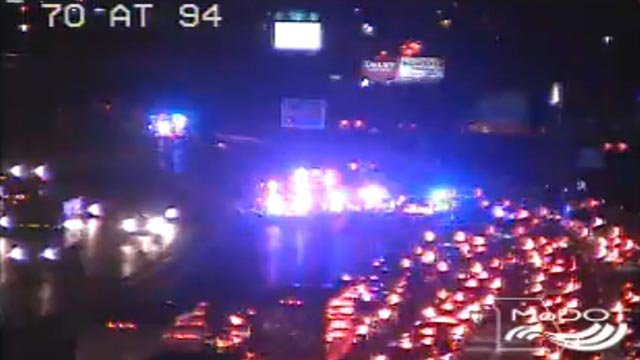Multiple lanes of EB I-70 were closed at Highway 94 after a crash Tuesday (Credit: MoDOT)