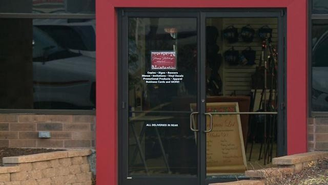 A window at the Creve Coeur Camera on Olive Blvd. was found shattered (Credit: KMOV)