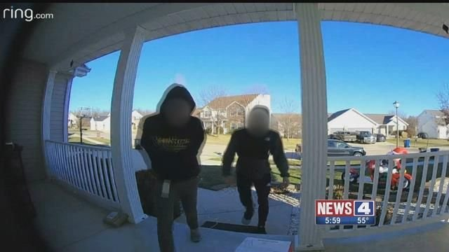 Wentzville police arrested three teenagers after they were caught on camera stealing packages off a front porch. Credit: Lewis Lucarelli