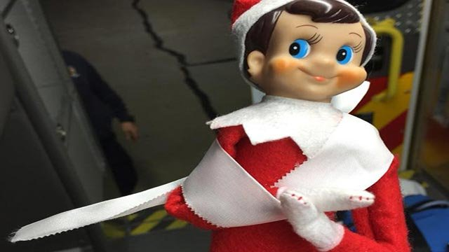 Maryville paramedics bandaged an Elf on the Shelf after it fell (Credit: Maryville Fire Department)