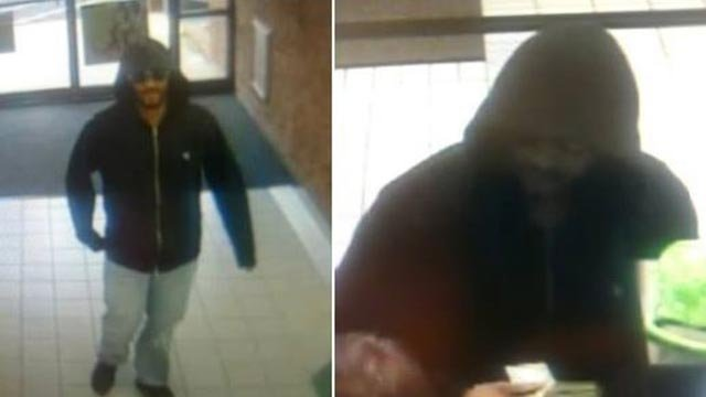 Surveillance photos of a suspect who robbed the Regions Bank-East Alton location Friday (Credit: East Alton Police)