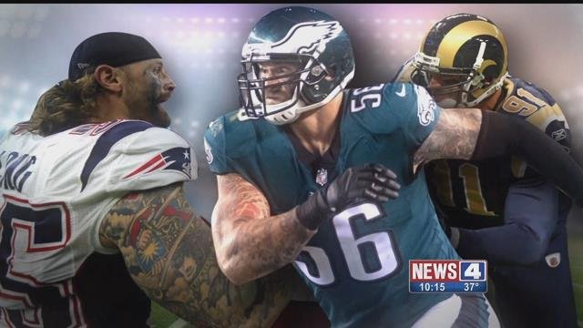 Chris Long in the uniform of all three NFL teams he has played for. Credit: CBS Sports