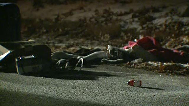 Items along the roadway after a family's car was stolen Thursday (Credit: KMOV)