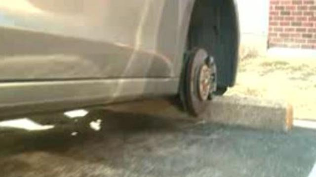 A wheel stolen from a car (Credit: KMOV)