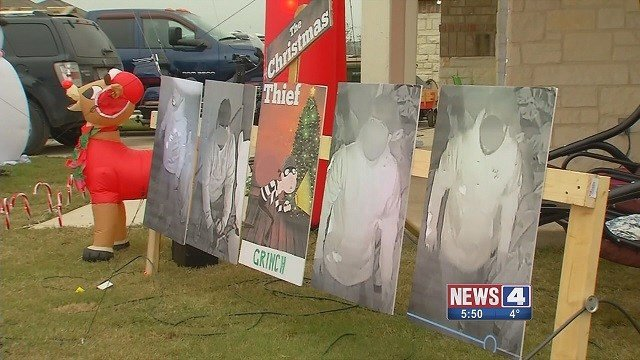A Texas man made the thief who stole his Christmas decorations part of the display. (Credit: KMOV)