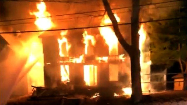A fire broke out Thursday night that destroyed a home in Alton, Il. (Credit: Madison County Illinois Scanner Page)