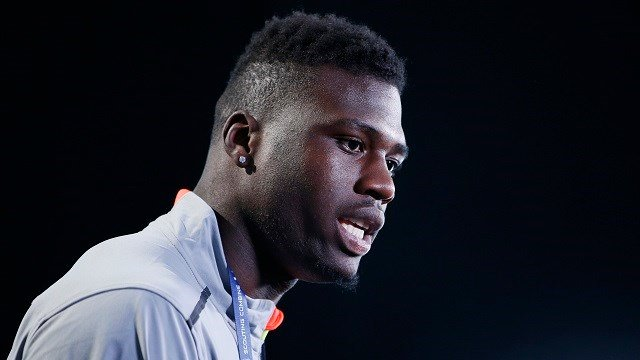 INDIANAPOLIS, IN - FEBRUARY 19: Wide receiver Dorial Green-Beckham of Oklahoma and formerly of Missouri speaks to the media during the 2015 NFL Scouting Combine at Lucas Oil Stadium on February 19, 2015 in Indianapolis. (Credit: Joe Robbins/Getty Images)