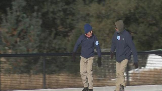 A pair of ice skaters at the Steinberg Skating Rink Monday (Credit: KMOV)