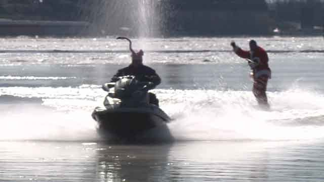 Below-freezing temperatures did not deter three brave water skiers from raising money for a local charity. (Credit: KMOV)