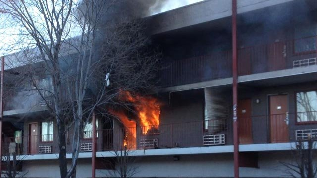 Firefighters battle blaze at America's Best Value Inn in St. Louis city. (Credit KMOV)
