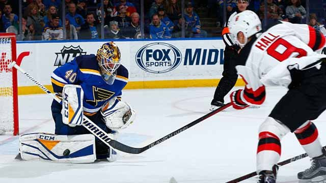 Carter Hutton #40 of the St. Louis Blues makes a save against the New Jersey Devils at Scottrade Center on January 2, 2018 in St. Louis, Missouri. (Photo by Dilip Vishwanat/NHLI via Getty Images)