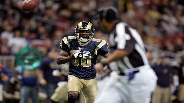 St. Louis Rams wide receiver Isaac Bruce (80) begs a ref for a pass interference call during the fourth quarter of an NFL football game against the Seattle Seahawks Sunday, Nov. 25, 2007, in St. Louis. The Seahawks won 24-19. (AP Photo/Jeff Roberson)
