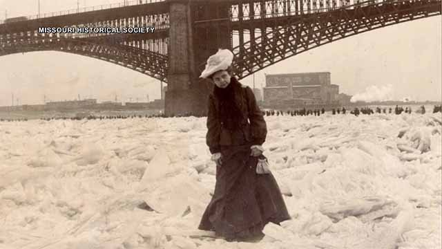 A woman walks on the frozen Mississippi River in 1905. Credit: Missouri Historical Society