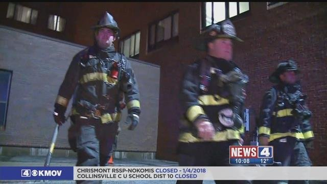 Firefighters responding to a call for a busted pipe due to bitter cold temperatures on Wednesday. Credit: KMOV