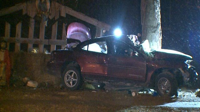 A suspect was killed when their vehicle crashed into a nativity scene in Bunker Hill (Credit: KMOV)