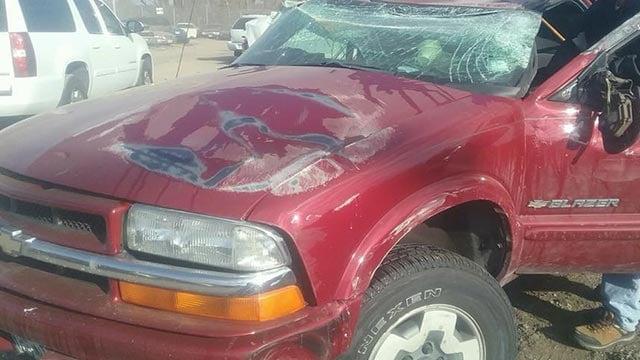 Damaged vehicle after crash (Credit: Janet Hahn)
