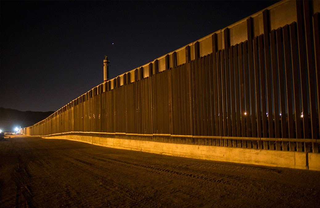 a portion of the new steel border fence that stretches along the US-Mexico border in Sunland Park, New Mexico.  (AP Photo/Rodrigo Abd, File)