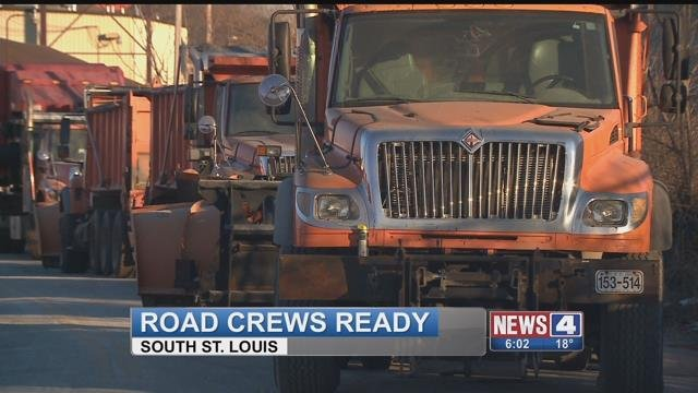 St. Louis City Street Departments stock snow plows for ice storm on Sunday (Credit: KMOV)
