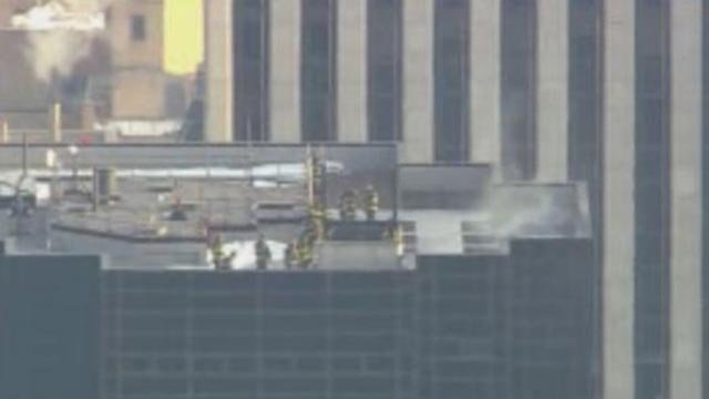 Firefighters at Trump Tower Monday (Credit: CBS)