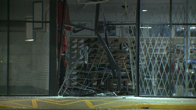 Damage to the City Gear in University City after a smash-and-grab Monday (Credit: KMOV)