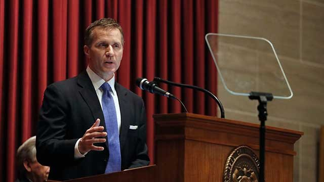 Missouri Gov. Eric Greitens delivers the annual State of the State address to a joint session of the House and Senate, Wednesday, Jan. 10, 2018, in Jefferson City, Mo. (AP Photo/Jeff Roberson)