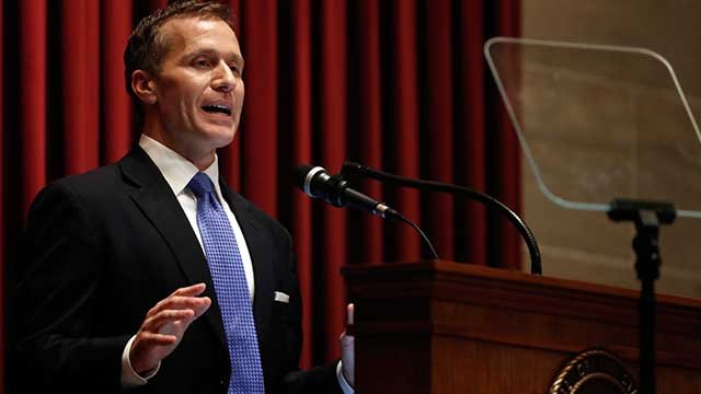 Missouri Gov. Eric Greitens delivers the annual State of the State address to a joint session of the House and Senate Wednesday Jan. 10 2018 in Jefferson City Mo