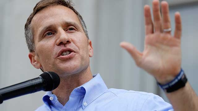 Missouri Gov. Eric Greitens speaks to supporters during a rally Tuesday, May 23, 2017, outside the state Capitol in Jefferson City, Mo. (AP Photo/Jeff Roberson)
