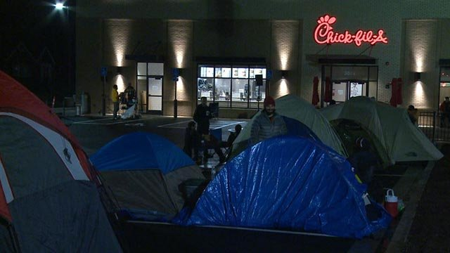 Chick-fil-A fans camped outside of St. Louis' newest location Thursday (Credit: KMOV)