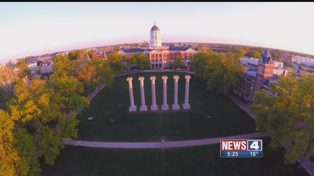Mizzou quad from above. Credit: KMOV