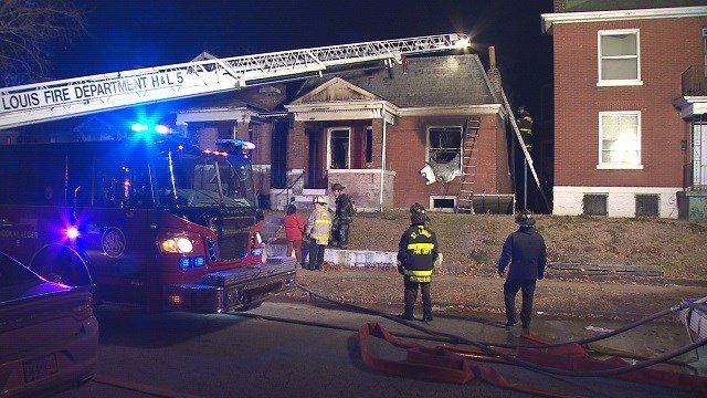 A fire destroyed the inside of a home on Terry Ave. in North St. Louis. (Credit: KMOV)