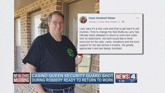 Larry Weber's wife posted this status on Facebook upon Larry returning to work at the Casino Queen after being shot. (Credit: KMOV)