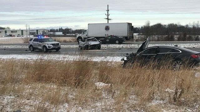 The scene of a fatal crash on I-70. (Credit: KMOV)