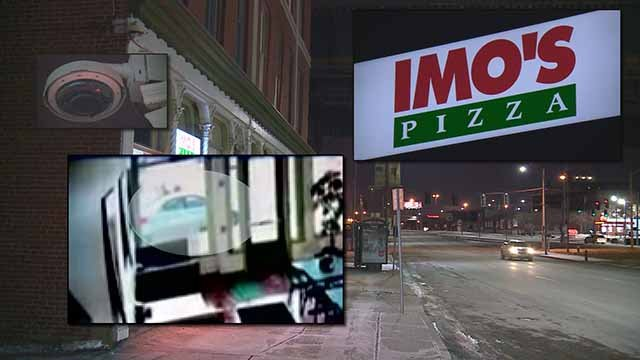 A woman was carjacked on Monday while she was picking up a pizza order in broad daylight in downtown St. Louis .Credit: Imo's