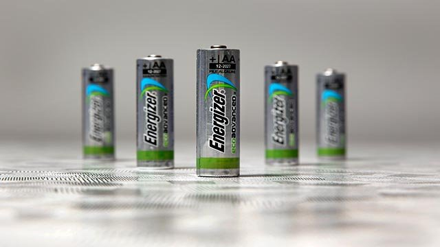 Examples of Energizer EcoAdvanced batteries, at the company's headquarters in St. Louis. (AP Photo/Jeff Roberson)
