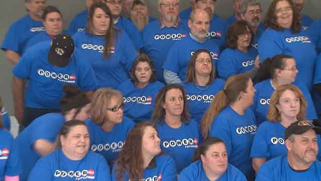 A group of co-workers in Farmington, Mo. have a lot to celebrate after a huge Powerball jackpot win! (Credit: KMOV)